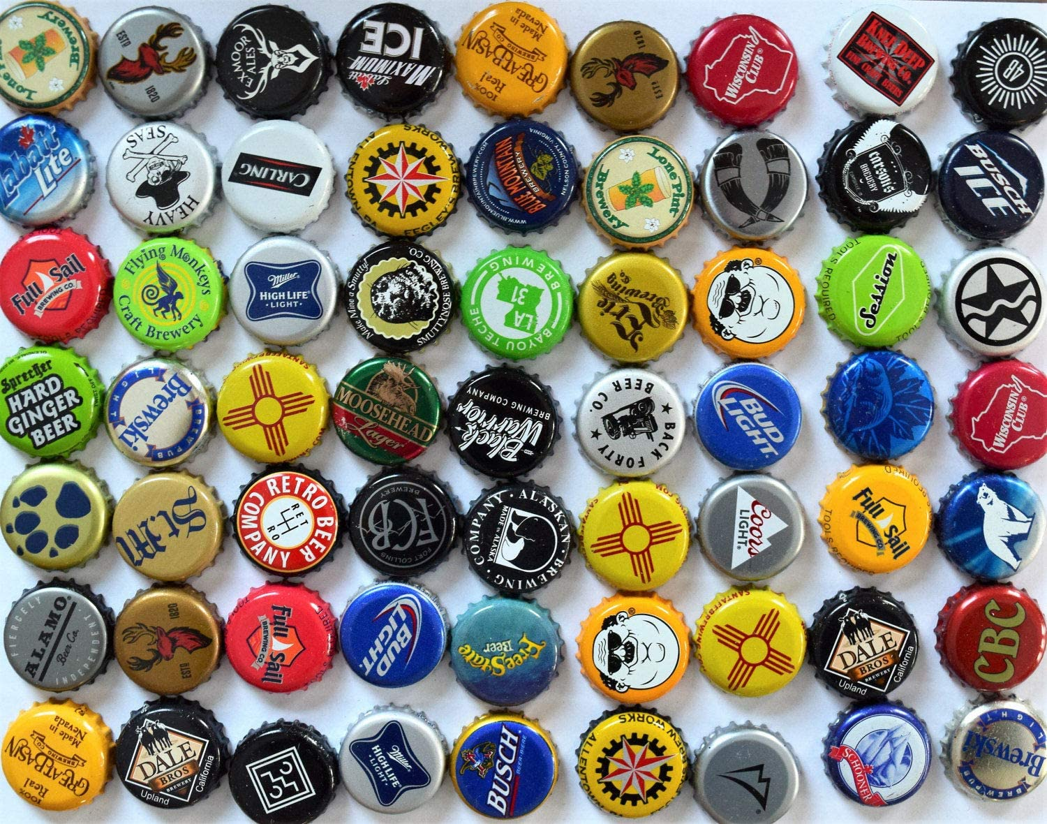 100 BEER.COM BEER BOTTLE CAPS BRIGHT BLUE NO DENTS RARE THE PARTY STARTS HERE