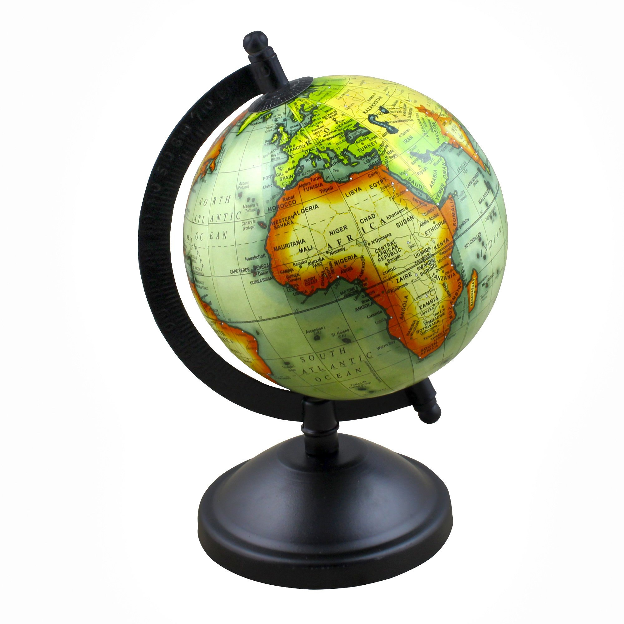 Decorative Desktop World Globe Earth Geography Map with Stand, 8 Inches for Office, Classroom, Kids Room & Home Decor Gift - Stock Clearance Sale!!