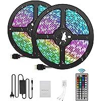 Tiras LED 10M 5050 RGB Tiras de Luces LED Iluminación con 300, Adaptador de Alimentación 5A Impermeable IP65, Control…
