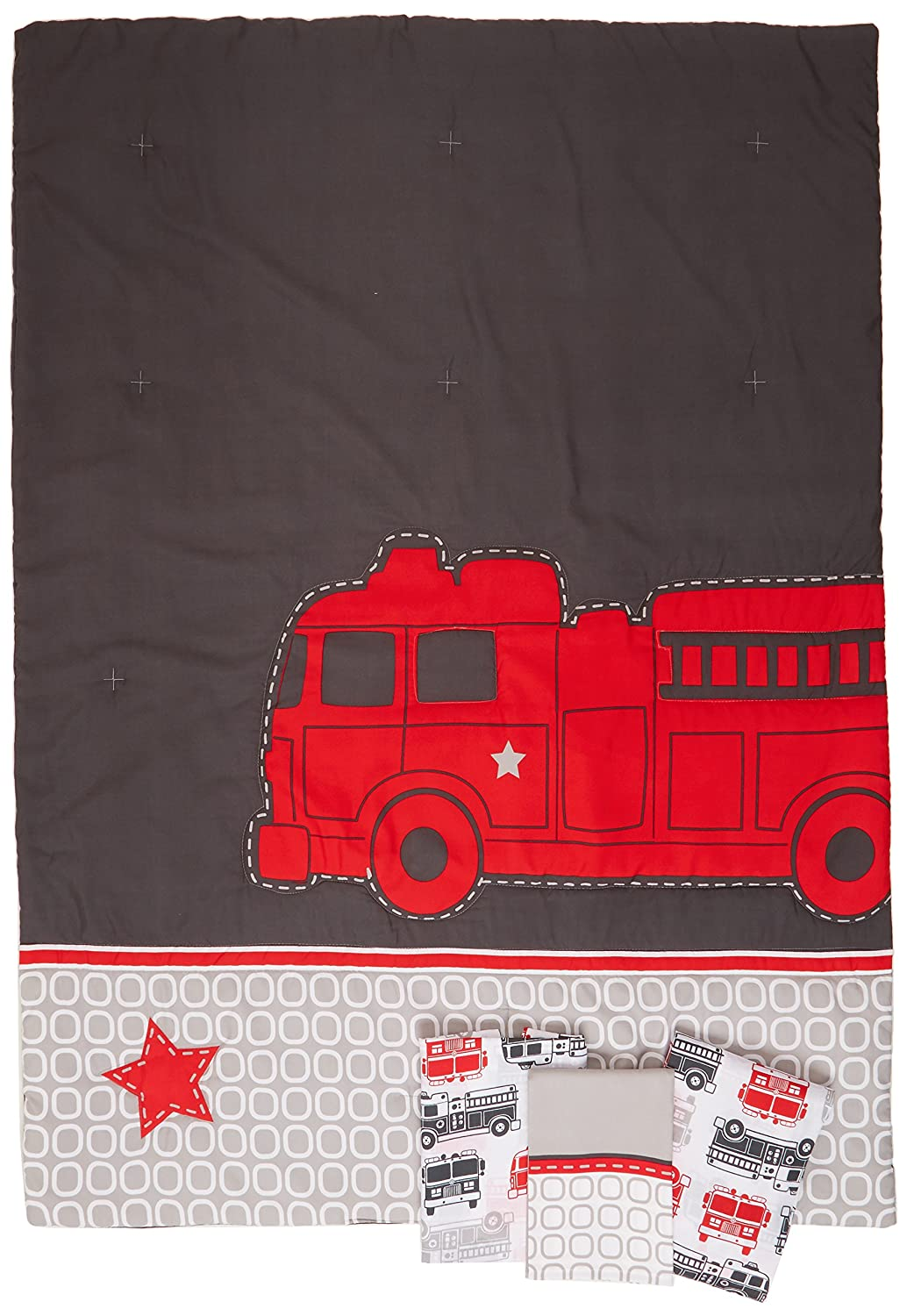 Carter's 4 Piece Toddler Bed Set, Fire Truck Crown Crafts Infant Products 6353416