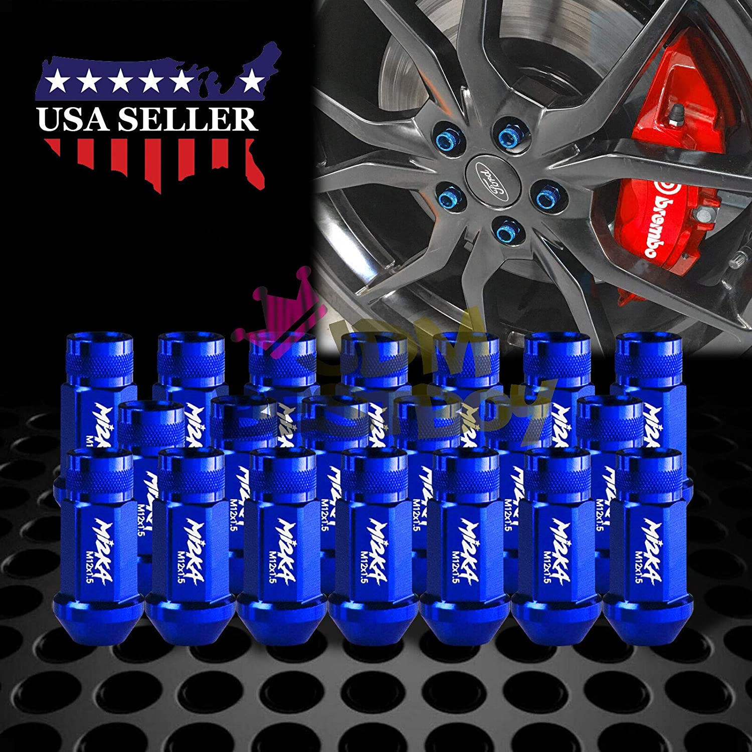 Blue M12x1.5 60mm Aluminum Open End Extended Tuner Wheel Lug Nut+Adapter 20