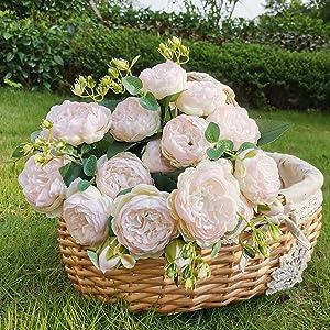 BOMJJOR Peonies Artificial Flowers Silk Peony Arrangement Bouquet for Wedding Centerpiece Garden Party Home Decor Elegant Vintage Fake Peonies Pink Pack of 3