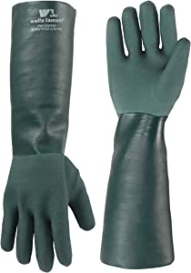 Heavy Duty Extra Long PVC Chemical Gloves, One Size (Wells Lamont 158L)