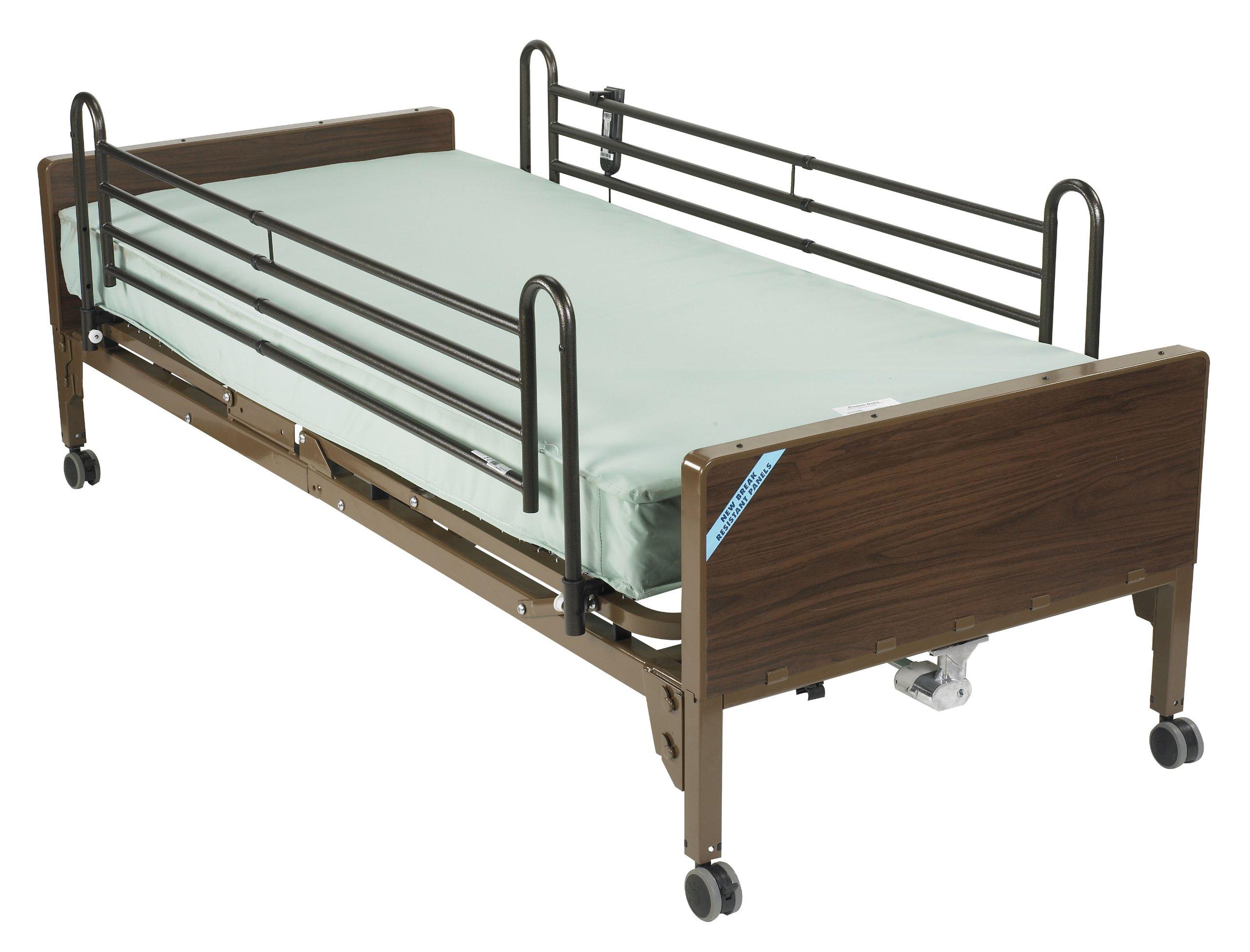 Drive Medical Delta Ultra Light Semi Electric Hospital Bed Mattress, Full Rails & Foam