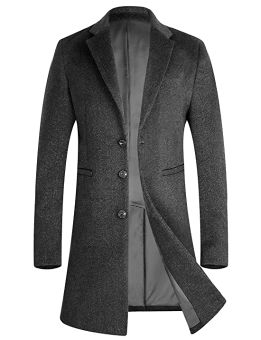 Men's Vintage Style Coats and Jackets POWERSPACE APTRO Mens Wool Coat Long Fashion Slim Fit Woolen Overcoat £90.99 AT vintagedancer.com