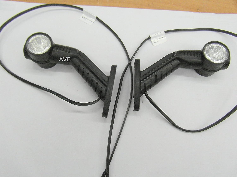 2 Stck Aspöck - Superpoint lll LED, U rot/weiß, schräger Arm mit 1 m DC rechts & links