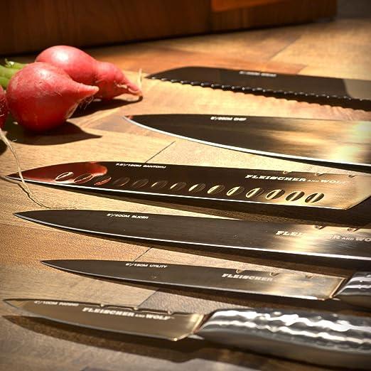 Amazon.com: FLEISCHER & Wolf Hammered Titanio cuchillo Block ...