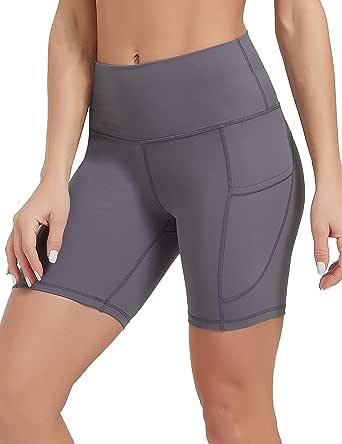 DEMOZU Naked Feeling Biker Shorts for Women Yoga Workout Shorts with Pockets