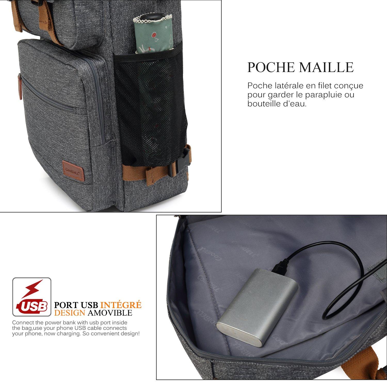 ac1c1eddf4 Srotek Sacoche Ordinateur Portable Convertible Sac Bandoulière Sac à Dos et  à Main Porte-Documents Multi-Poche Parfait pour ...