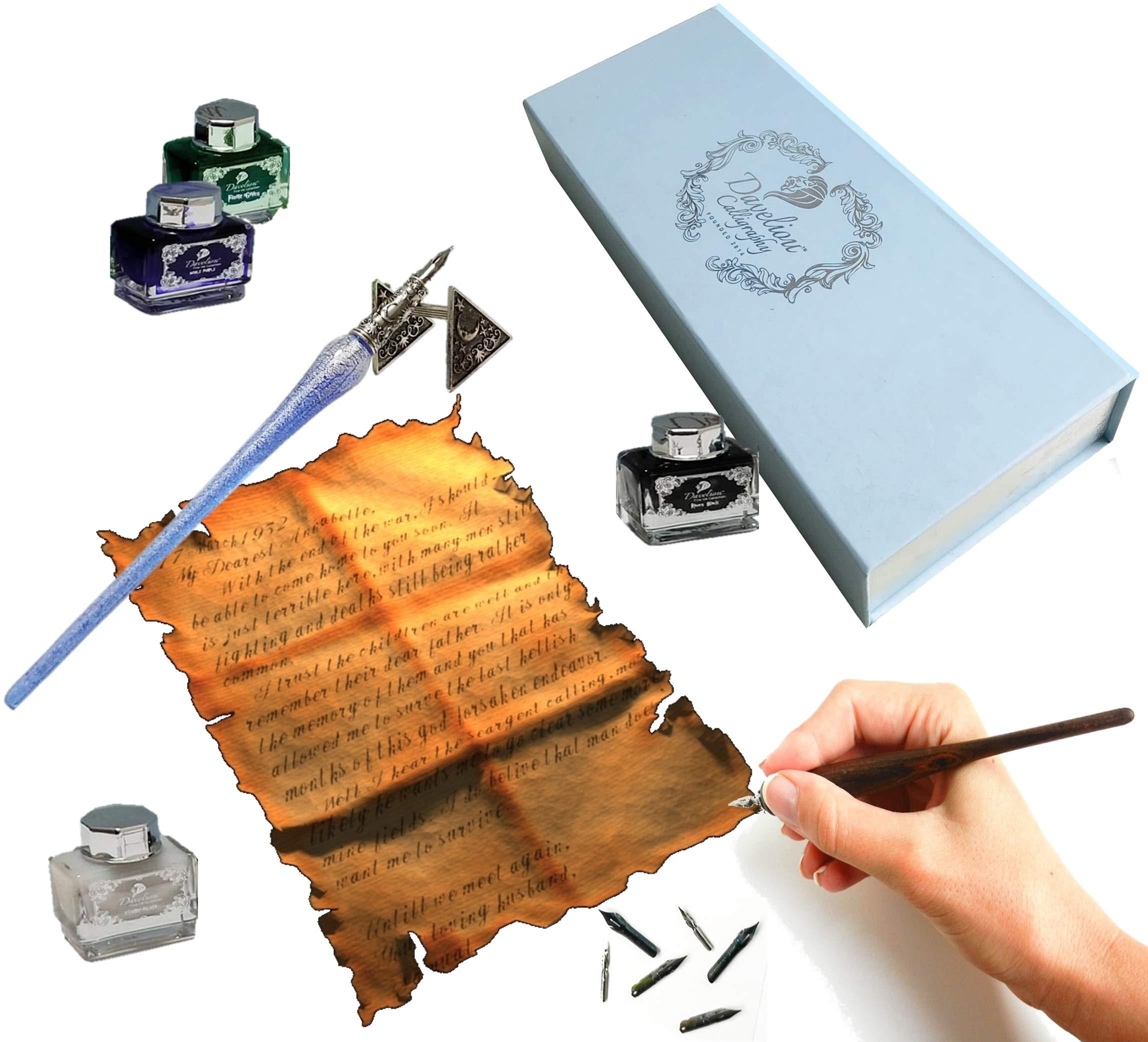 Daveliou Calligraphy Pen Set - 17-Piece Kit - Silver Leaf Blue Glass & Wooden Pens - 10 Nib & 4 Ink Set - Superior Control by Daveliou (Image #9)