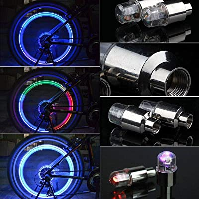 Bicycle Tire LED Lights Car Wheel Valve Cap Spoke LED Light Tyre Waterproof Lamp