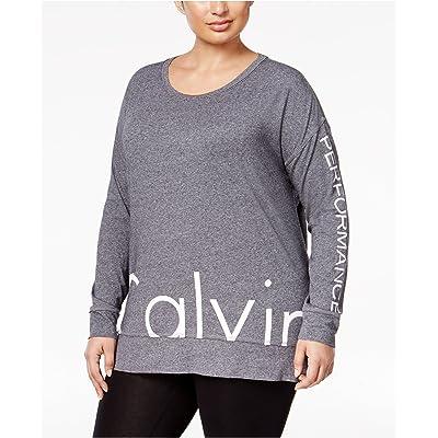 Calvin Klein Women's Performance Plus Size Long-Sleeve Logo T-Shirt