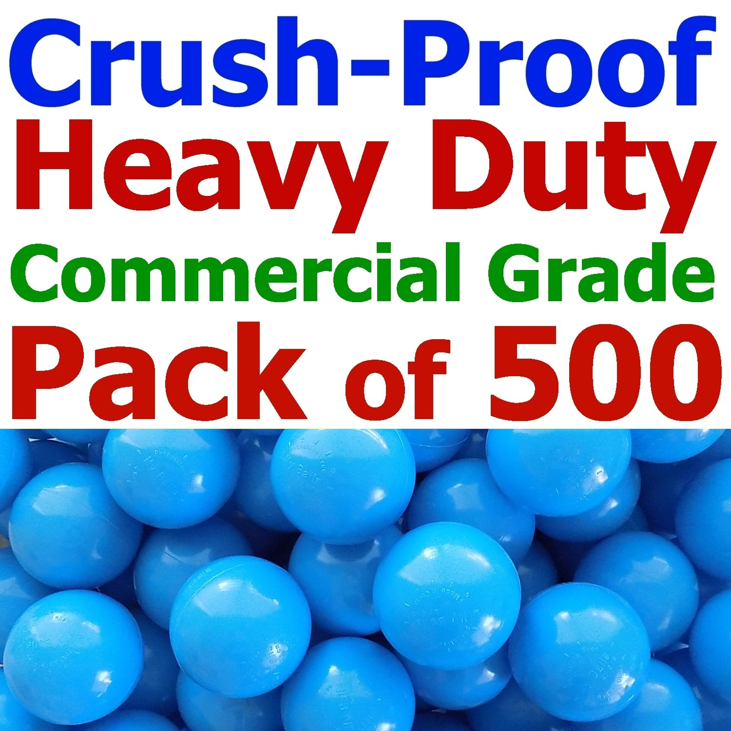 My Balls Pack of 500 Jumbo 3' Sky-Blue Color Commercial Grade Ball Pit Balls - Crush-Proof Phthalate Free BPA Free PVC Free Lead Free Non-Toxic Non-Recycled Plastic CMS