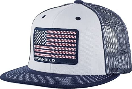 official photos 1dc99 80262 EvoShield Flag Patch Snapback Trucker Hat-White Navy Mesh