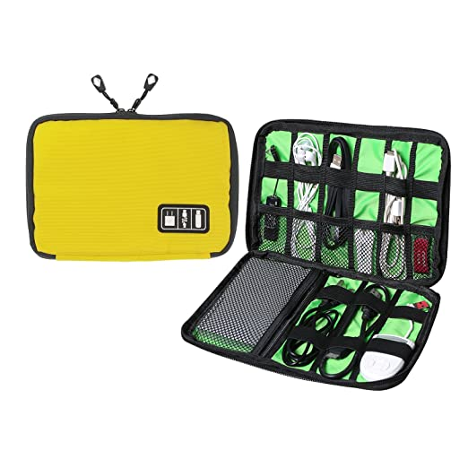 Amazon.com: Universal Cable Organizer - Electronics Accessories Case USB Drive Shuttle-an All in One Travel Organizer - (Yellow): Cell Phones & Accessories