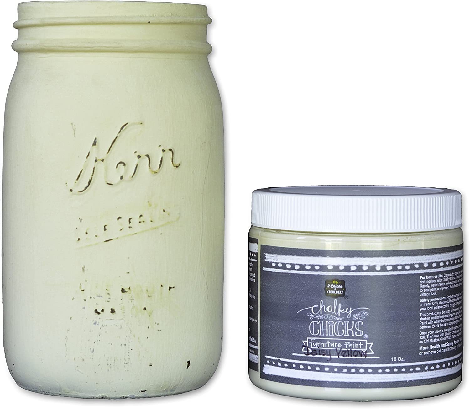 Chalky Chicks | Chalk Finish Paint | Perfect For Furniture, Cabinets, Home Decor, & DIY Craft Projects | 16 oz | Daisy Yellow