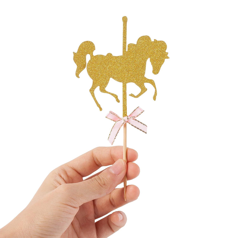 Hello Kawaii Glitter Gold Carousel Horse Cupcake Toppers (Paquete De 12): Amazon.es: Juguetes y juegos