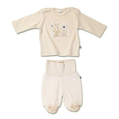 Jacky unisexe pantalon à pieds + t-shirt manches longues, Little Friends, écru, 56 (1 mois), 331400