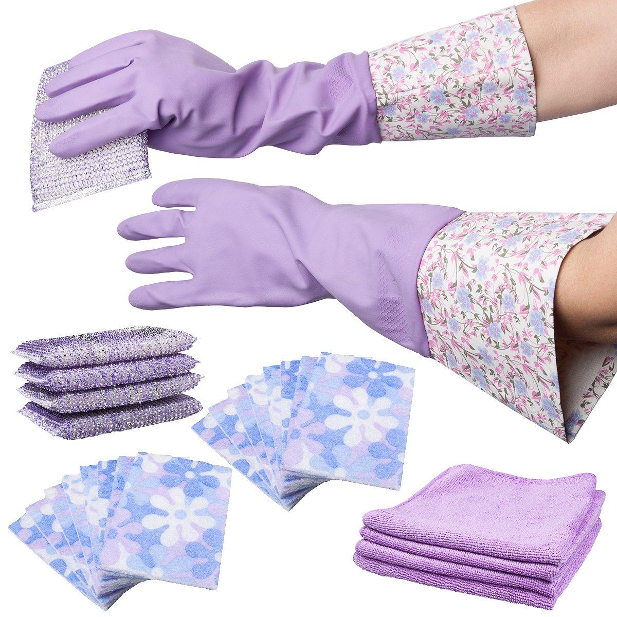 25pc Smart Home Purple Mega Cleaning Set - Sponges, Microfiber Cloths, Gloves by Smart home B015EI6UC4