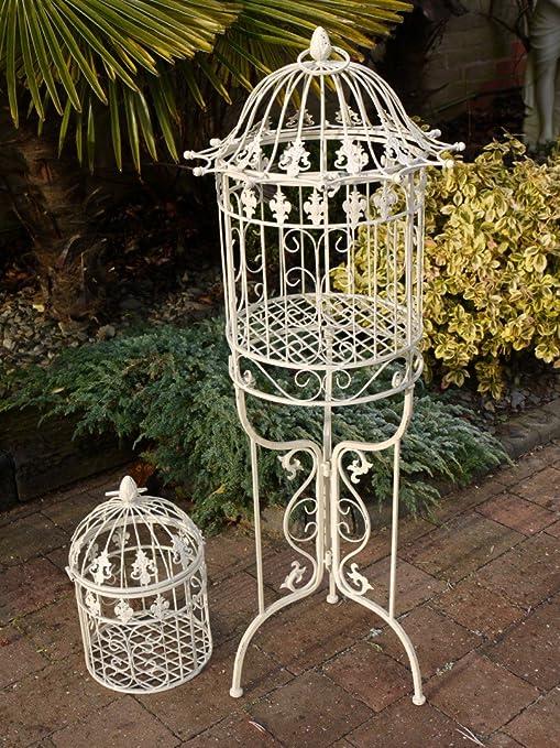 Blanco Pie Ornamental pájaro jaula y soporte para boda y eventos ...