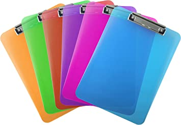 5 Star A4 Clipboard Lime Green Clear Plastic with Ruler Edges and Round Corners