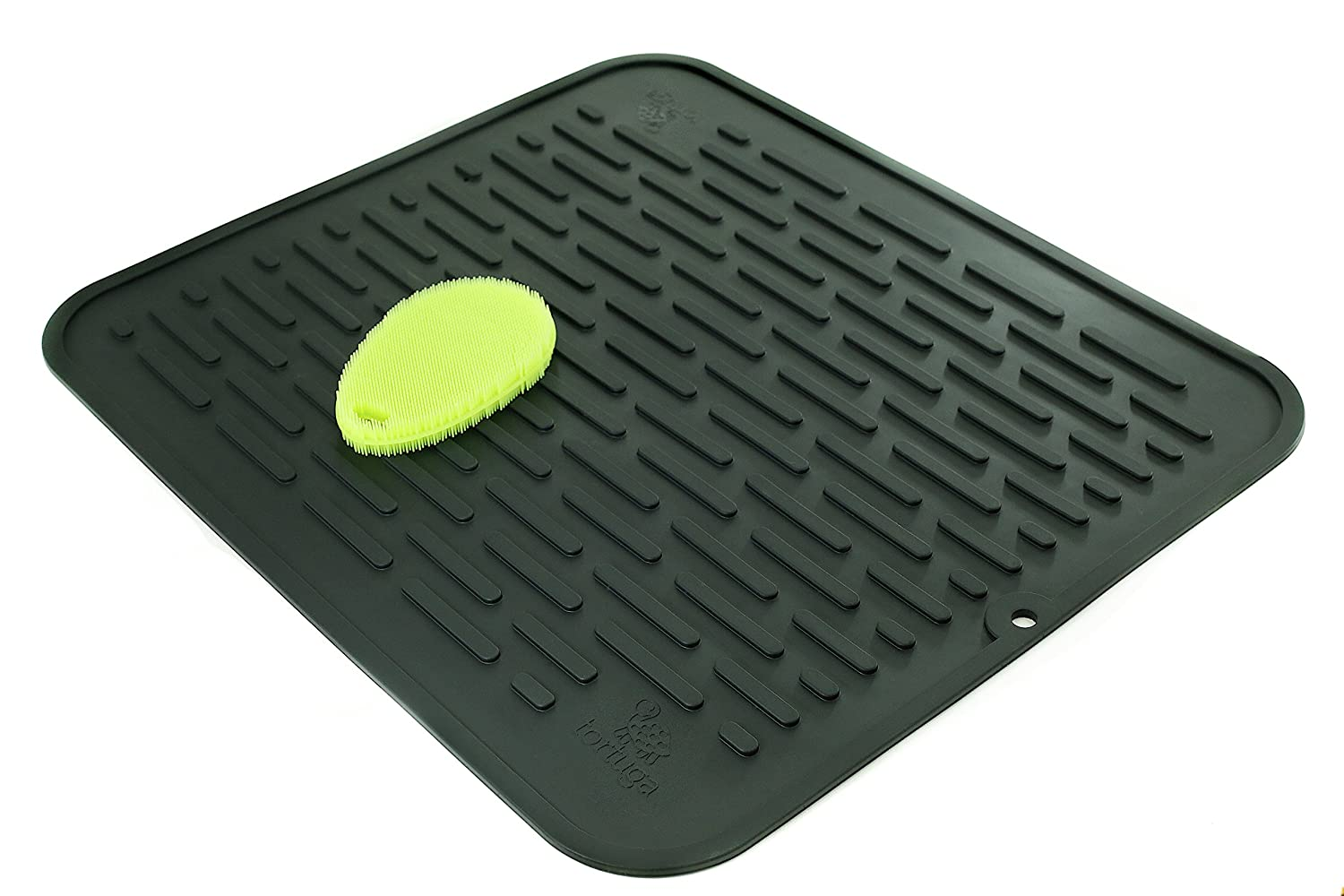 XL Silicone Dish Drying Mat & Counter Protector and Stay Clean Scrubby | Hygienic, Antibacterial, Dishwasher Safe | Wide Ridges Easy To Wipe Clean | Heat Resistant 450º 17.8 x 15.8'' | Black