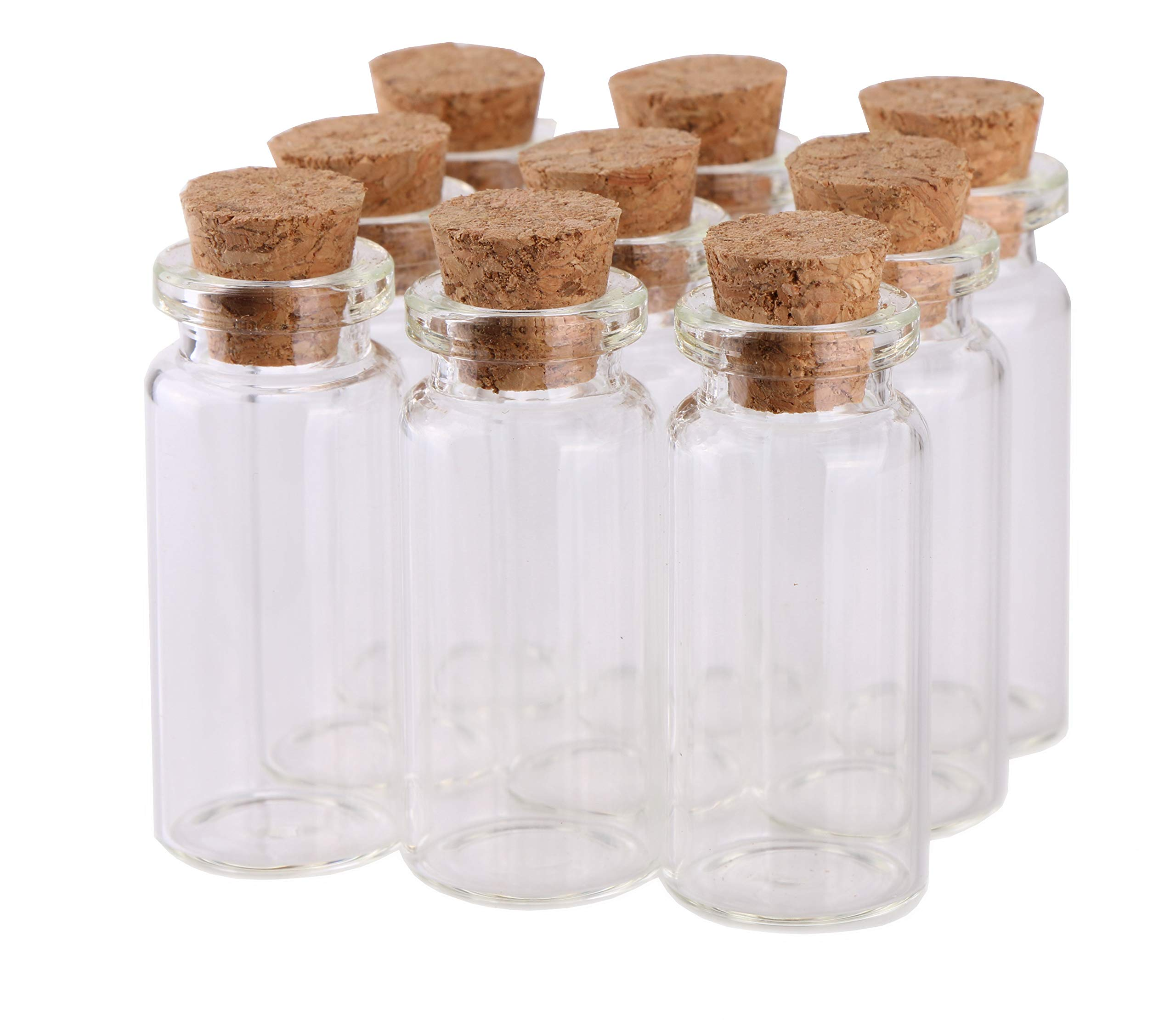 MaxMau Small Bottles with Corks,10 Milliliter 100 Packs Tiny Vials Mini Cork Stopper Clear Jars for DIY Art Crafts Projects Party Decoration Wedding Favors