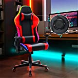 Gaming Chair with Bluetooth Speakers RGB LED Lights, Music Video Game Chair, Ergonomic PU Leather High Back Computer Chair, A