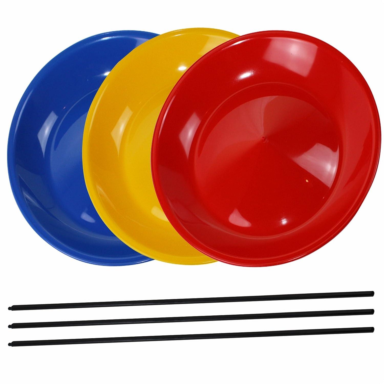 3 Juggling Plates with 3 Wooden Sticks or 3 Plastic Sticks, Mixed Colours sold by SchwabMarken Kunststoff-Technik Schwab KG