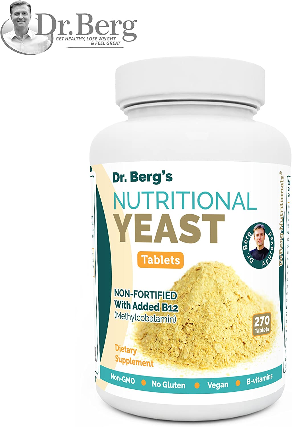 Nutritional Yeast Tablets Non-Fortified B-Vitamin Complex Natural B12 Added 270 Tablets No Gluten Vegan Non-GMO Non Synthetics