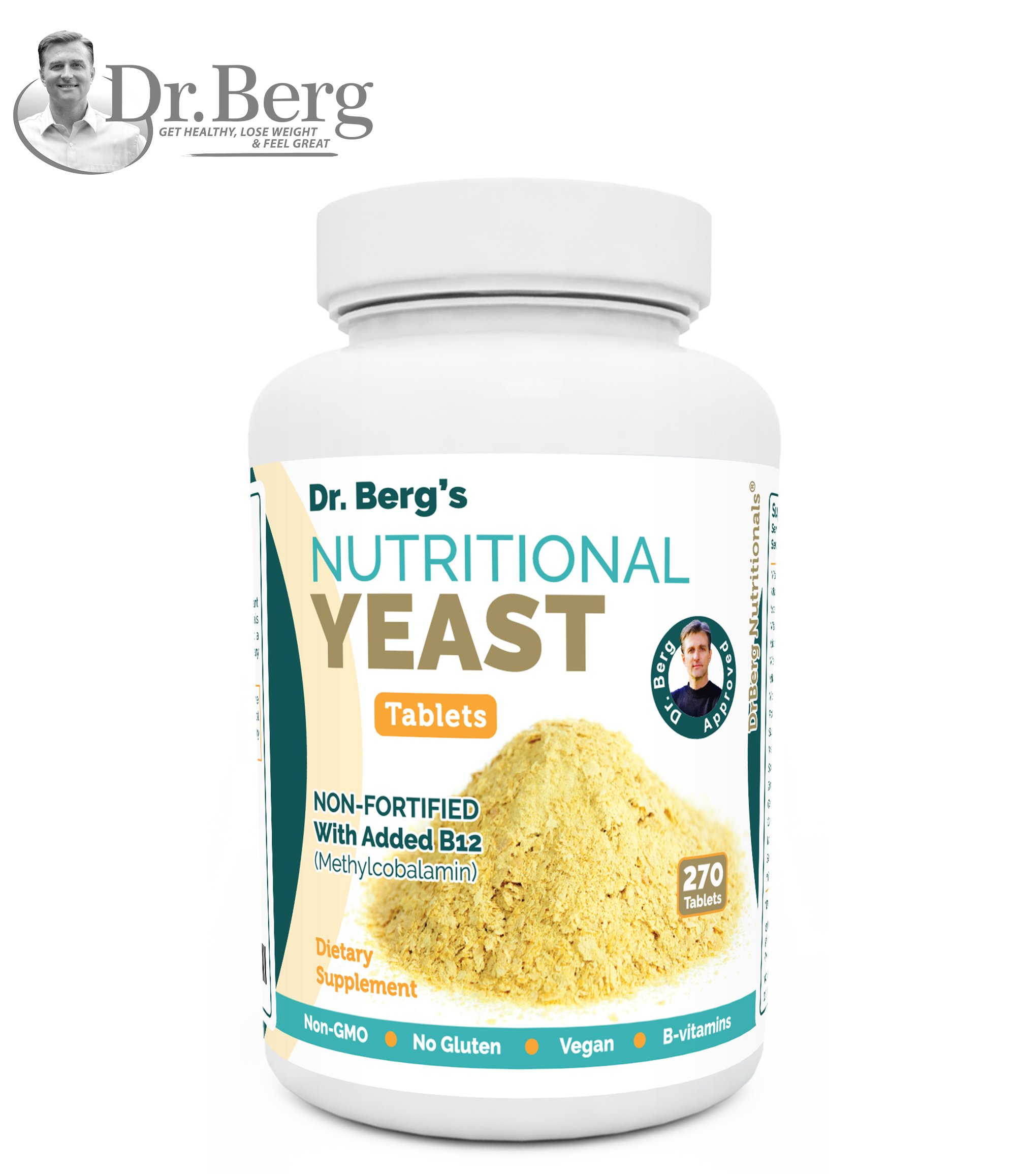 Nutritional Yeast Tablets - Non-Fortified - B-Vitamin Complex - Natural B12 Added - 270 Tablets - No Gluten - Vegan - Non-GMO - Non Synthetics by Dr. Berg's Nutritionals