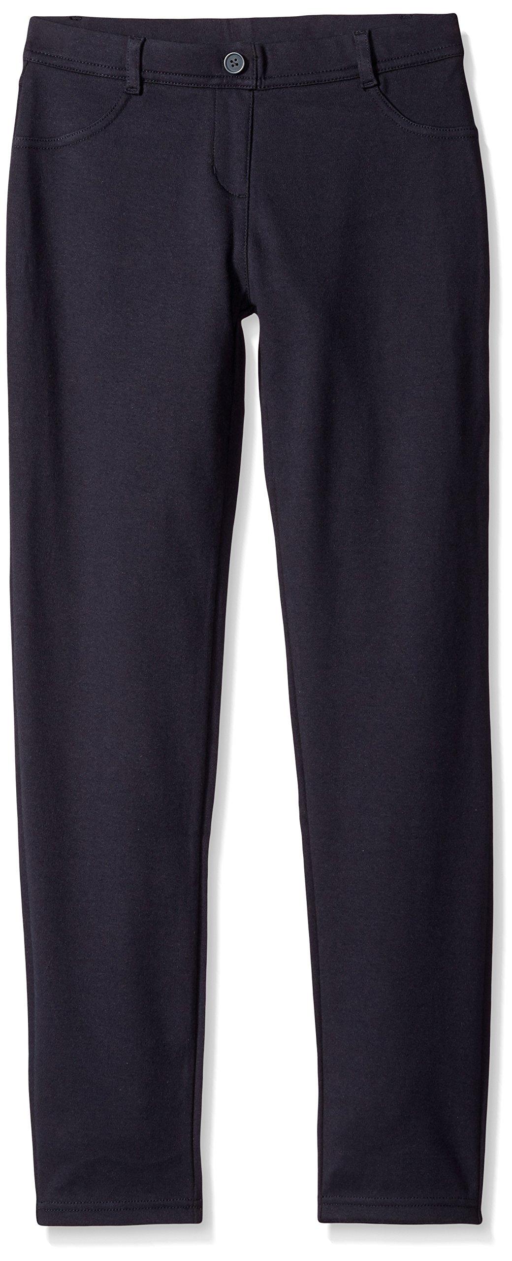 Nautica Girls' Big School Uniform Stretch Interlock Legging, Navy, 7