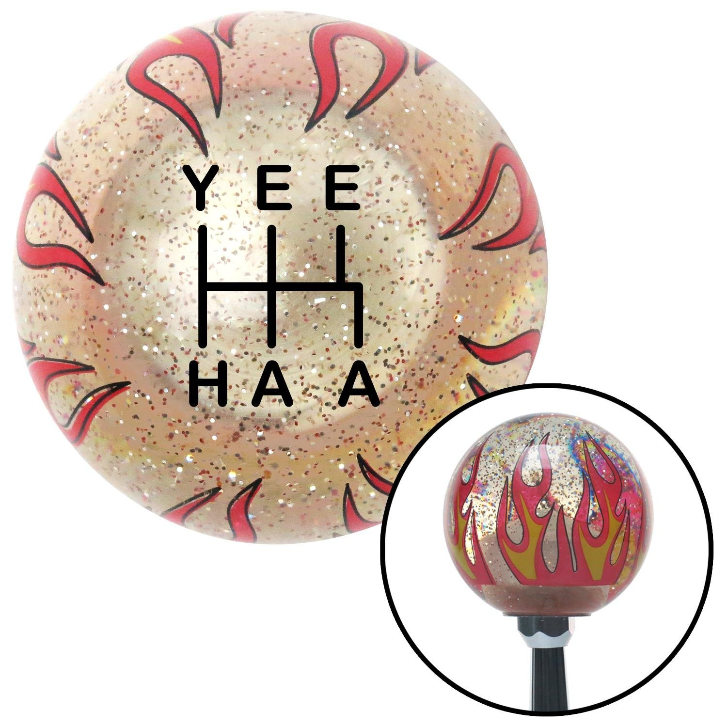 American Shifter 302236 Shift Knob Black YeeHaa 5 Speed Clear Flame Metal Flake with M16 x 1.5 Insert