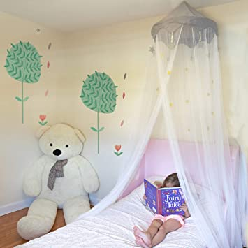 Premium Bed Canopy for Girls and Boys Hanging Bed Net with Easy Installation Kit Fits All Cribs and Beds Gray Top-Crown White Bed Net Nomad Nets Crib Canopy for Girls Bed