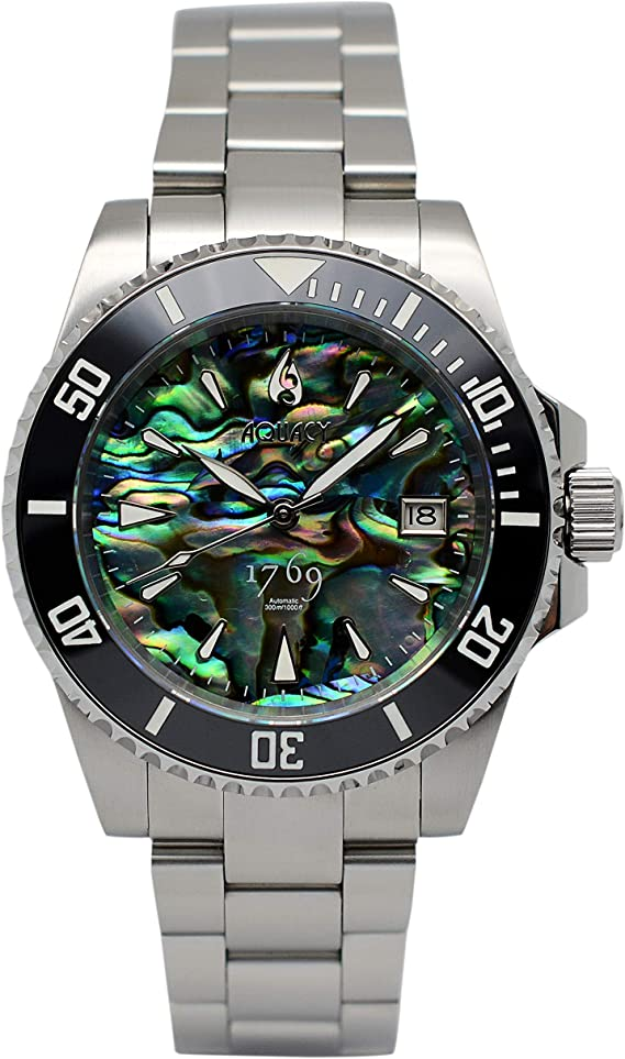 Aquacy 1769 Limited Edition Men's Automatic Dive Watch - 300M Water Resistant Abalone Diver Watches for Men - Luminous Bezel & Sapphire Anti-Reflective Crystal - Self-Winding Mens Scuba Diving Watch