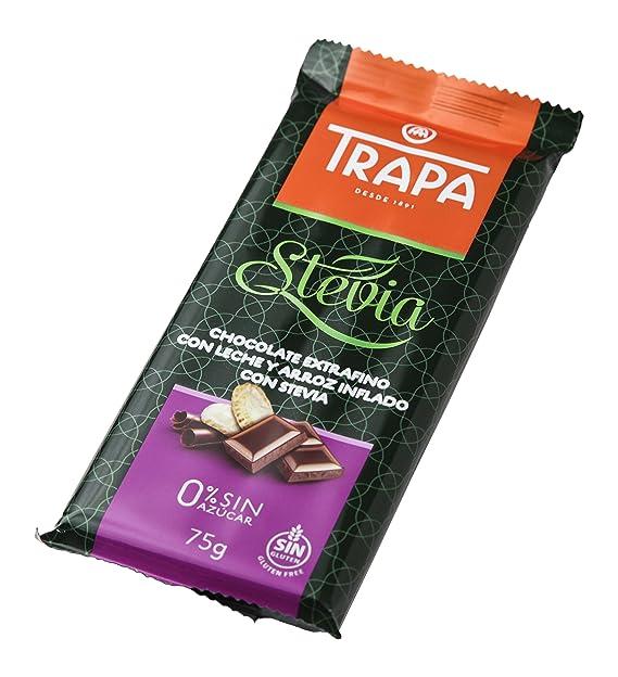 Trapa Tableta de Chocolate Extrafino, con Leche y Arroz Inflado con Stevia - 75 gr
