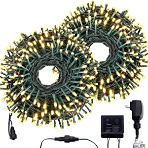 Bestalent Christmas Indoor String Lights 800 LED 276 Ft Outdoor Mini Lights for Tree Green Wire Waterproof Fairy String Lights Xmas Wedding Party Holiday Decoration,Warm White