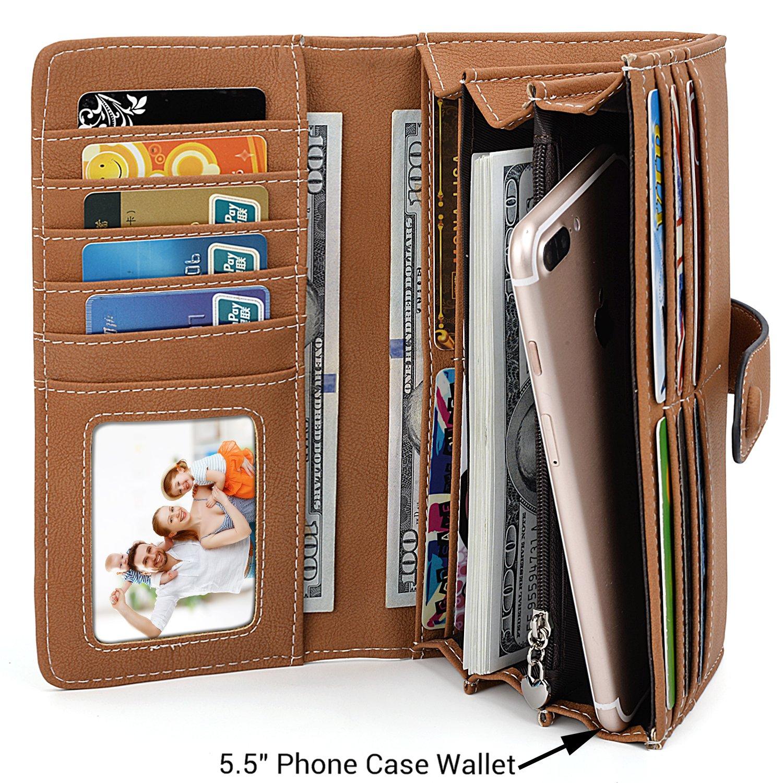 Amazon.com: UTO RFID Wallet for Women Vegan Leather 18 Card Slots Card Holder Long Bifold Checkbook 5.5