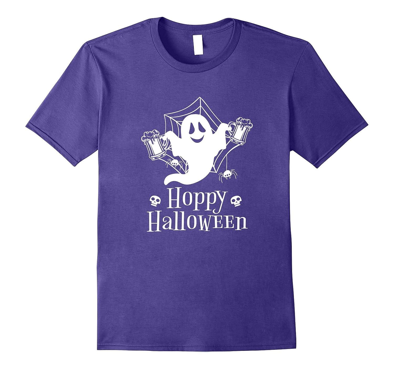 Hoppy Halloween T-shirt Funny Beer Drinkers Ghost Spider Tee-FL
