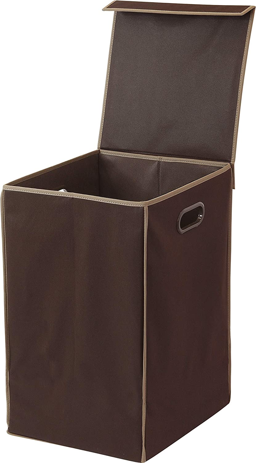 Simple Houseware Foldable Laundry Hamper Basket with Lid, Brown