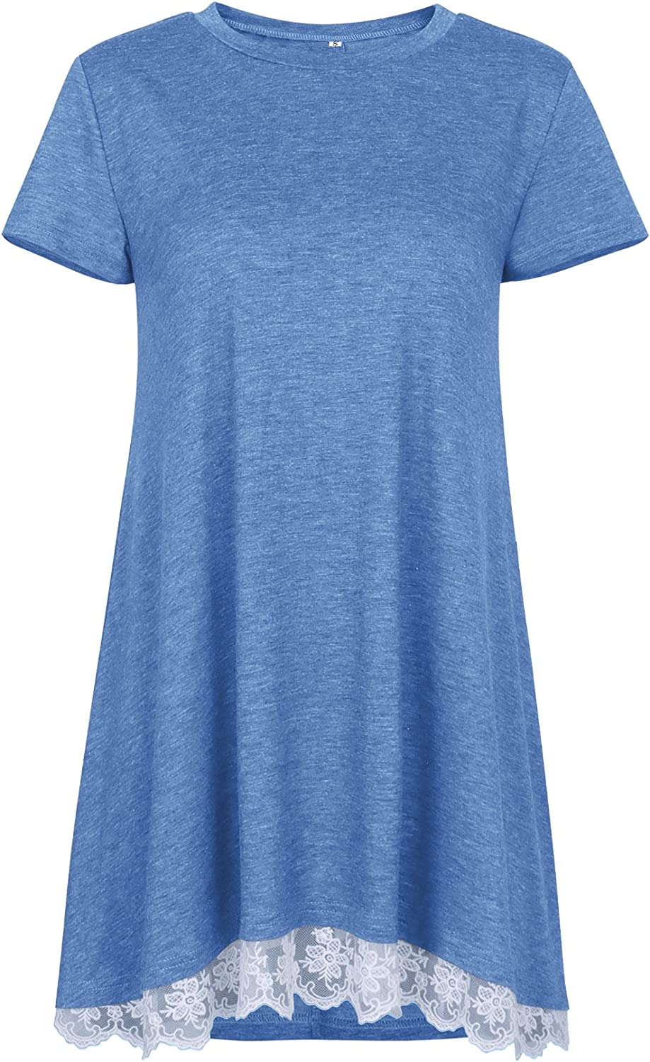 NICIAS Womens Lace Casual Short Sleeve Tunic Tops Loose Blouse T Shirt