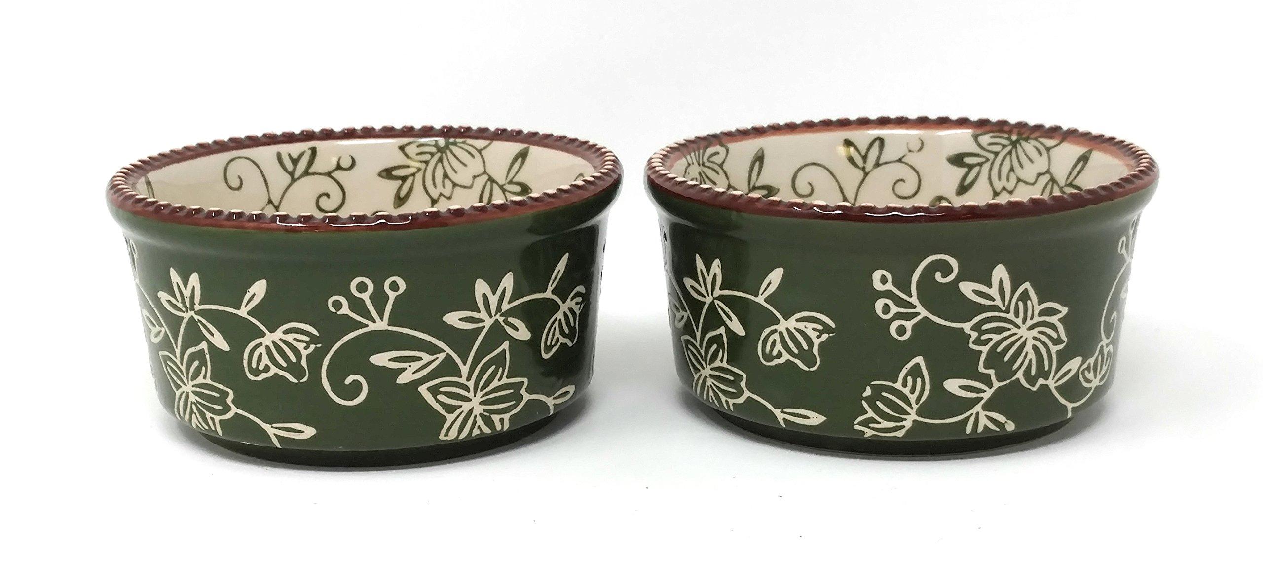 Temp-tations Set of 2 Ramekins w/Covers 6oz Single Serving (Floral Lace Green)
