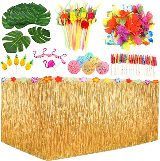 123 piezas hawaiano Luau juego de faldas de mesa, hojas de palma ...