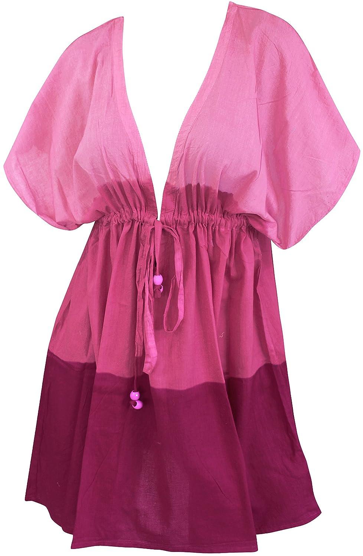 Pink Destiny [ONE SIZE] US  14 (L) THRU Plus Size 24W (3X) La Leela Bikini Swimwear Swimsuit Beach Cover ups Women Summer Dress Tie Dye