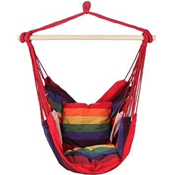 Superior Swing Hanging Hammock Chair With Two Cushions (Red)