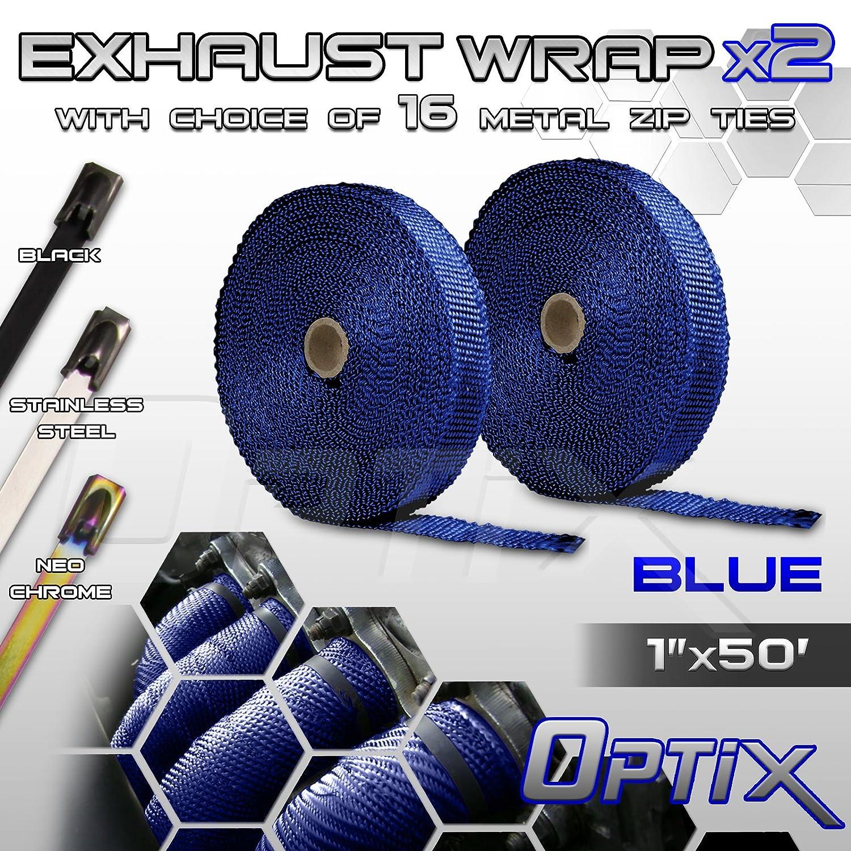 W Optix 1 L 2 Rolls Thermal Header Exhaust Wrap Kit x 50 Blue Heat Shield Tape with Stainless Steel Zip Ties