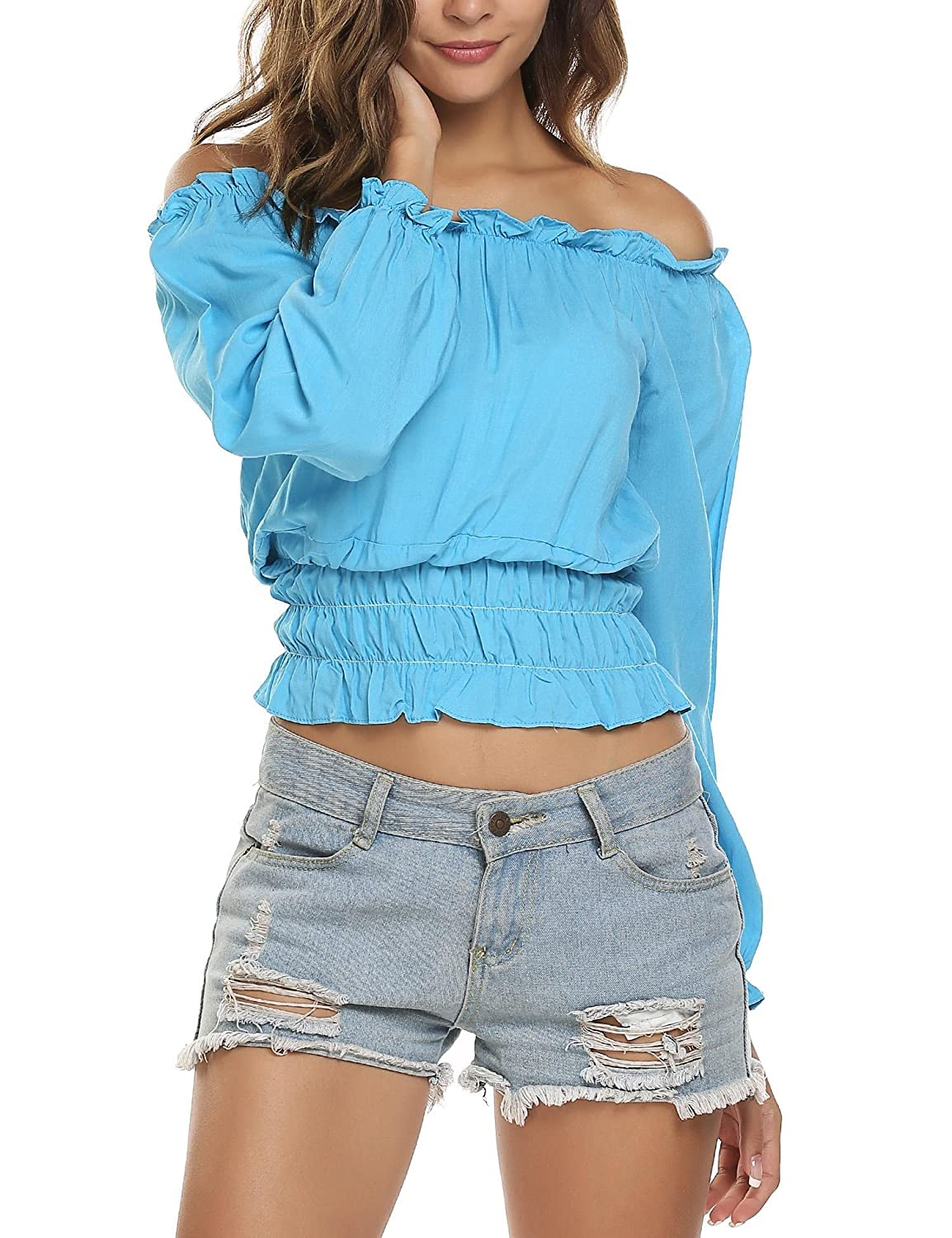 7684d09d4d5 Sexy Cute Crop Top, 4 Colors Available: white,black,burgundy,turquoise.  Boho peasant top featuring strapless,long sleeve,elastic waist,ruffles,plus  size