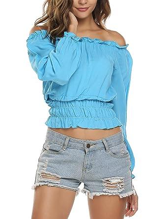 44375dc67c0 Zeagoo Women Off Shoulder Solid Long Sleeve T-Shirt Blouse Top Sky Blue XL