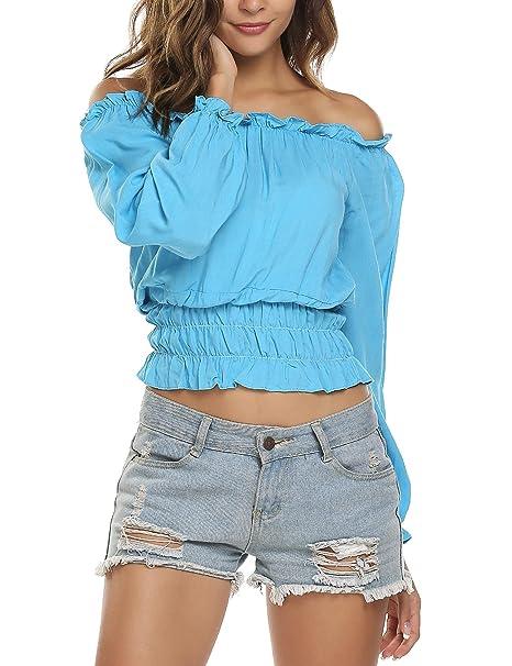 e6a9fd137b9f3f Meaneor Women Off Shoulder Slim Long Sleeve Strapless Top Shirt Blouse Sky  Blue XXL