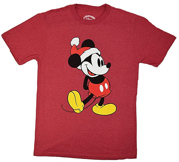 disney classic christmas holiday mickey mouse standing t shirt small heather red